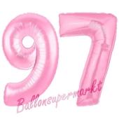 Zahl 97 Rosa, Luftballons aus Folie zum 97. Geburtstag, 100 cm, inklusive Helium