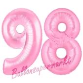 Zahl 98 Rosa, Luftballons aus Folie zum 98. Geburtstag, 100 cm, inklusive Helium