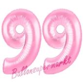 Zahl 99 Rosa, Luftballons aus Folie zum 99. Geburtstag, 100 cm, inklusive Helium