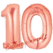 Zahl 10 Rose Gold, Luftballons aus Folie zum 10. Geburtstag, 100 cm, inklusive Helium