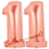 Zahl 11 Rose Gold, Luftballons aus Folie zum 11. Geburtstag, 100 cm, inklusive Helium