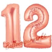 Zahl 12 Rose Gold, Luftballons aus Folie zum 12. Geburtstag, 100 cm, inklusive Helium