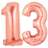 Zahl 13 Rose Gold, Luftballons aus Folie zum 13. Geburtstag, 100 cm, inklusive Helium