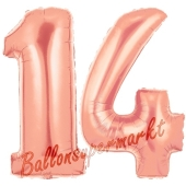 Zahl 14 Rose Gold, Luftballons aus Folie zum 14. Geburtstag, 100 cm, inklusive Helium