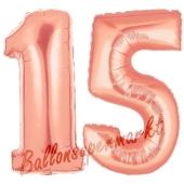 Zahl 15 Rose Gold, Luftballons aus Folie zum 15. Geburtstag, 100 cm, inklusive Helium
