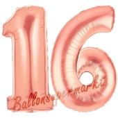 Zahl 16, Rosegold, Luftballons aus Folie zum 16. Geburtstag, 100 cm, inklusive Helium