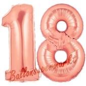Zahl 18, Rosegold, Luftballons aus Folie zum 18. Geburtstag, 100 cm, inklusive Helium