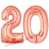 Zahl 20 Rose Gold, Luftballons aus Folie zum 20. Geburtstag, 100 cm, inklusive Helium
