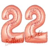 Zahl 22 Rose Gold, Luftballons aus Folie zum 22. Geburtstag, 100 cm, inklusive Helium