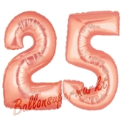Zahl 25 Rose Gold, Luftballons aus Folie zum 25. Geburtstag, 100 cm, inklusive Helium