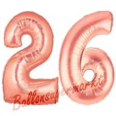 Zahl 26, Rosegold, Luftballons aus Folie zum 26. Geburtstag, 100 cm, inklusive Helium