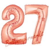 Zahl 27, Rosegold, Luftballons aus Folie zum 27. Geburtstag, 100 cm, inklusive Helium