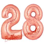 Zahl 28, Rosegold, Luftballons aus Folie zum 28. Geburtstag, 100 cm, inklusive Helium