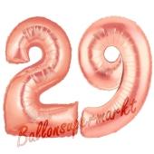 Zahl 29, Rosegold, Luftballons aus Folie zum 29. Geburtstag, 100 cm, inklusive Helium