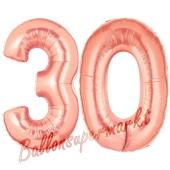 Zahl 30, Rosegold, Luftballons aus Folie zum 30. Geburtstag, 100 cm, inklusive Helium