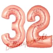 Zahl 32, Rosegold, Luftballons aus Folie zum 32. Geburtstag, 100 cm, inklusive Helium