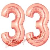 Zahl 33, Rosegold, Luftballons aus Folie zum 33. Geburtstag, 100 cm, inklusive Helium