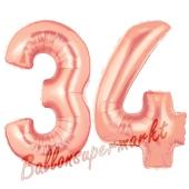 Zahl 34, Rosegold, Luftballons aus Folie zum 34. Geburtstag, 100 cm, inklusive Helium
