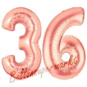 Zahl 36, Rosegold, Luftballons aus Folie zum 36. Geburtstag, 100 cm, inklusive Helium