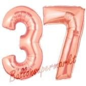 Zahl 37, Rosegold, Luftballons aus Folie zum 37. Geburtstag, 100 cm, inklusive Helium