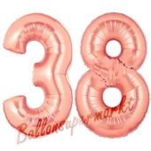 Zahl 38, Rosegold, Luftballons aus Folie zum 38. Geburtstag, 100 cm, inklusive Helium