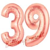 Zahl 39, Rosegold, Luftballons aus Folie zum 39. Geburtstag, 100 cm, inklusive Helium