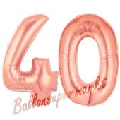 Zahl 40, Rosegold, Luftballons aus Folie zum 40. Geburtstag