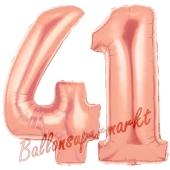 Zahl 41, Rosegold, Luftballons aus Folie zum 41. Geburtstag, 100 cm, inklusive Helium