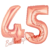 Zahl 45, Rosegold, Luftballons aus Folie zum 45. Geburtstag, 100 cm, inklusive Helium