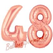 Zahl 48, Rosegold, Luftballons aus Folie zum 48. Geburtstag, 100 cm, inklusive Helium