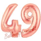 Zahl 49, Rosegold, Luftballons aus Folie zum 49. Geburtstag, 100 cm, inklusive Helium