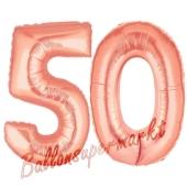 Zahl 50 Rosegold, Luftballons aus Folie zum 50. Geburtstag, 100 cm, inklusive Helium