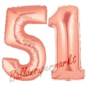Zahl 51, Rosegold, Luftballons aus Folie zum 51. Geburtstag, 100 cm, inklusive Helium