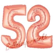 Zahl 52, Rosegold, Luftballons aus Folie zum 52. Geburtstag, 100 cm, inklusive Helium