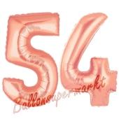 Zahl 54, Rosegold, Luftballons aus Folie zum 54. Geburtstag, 100 cm, inklusive Helium