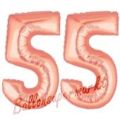 Zahl 55, Rosegold, Luftballons aus Folie zum 55. Geburtstag, 100 cm, inklusive Helium