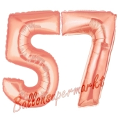 Zahl 57, Rosegold, Luftballons aus Folie zum 57. Geburtstag, 100 cm, inklusive Helium