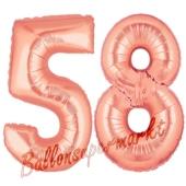 Zahl 58, Rosegold, Luftballons aus Folie zum 58. Geburtstag, 100 cm, inklusive Helium