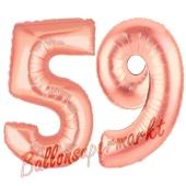 Zahl 59, Rosegold, Luftballons aus Folie zum 59. Geburtstag, 100 cm, inklusive Helium