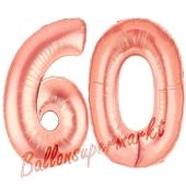Zahl 60, Rosegold, Luftballons aus Folie zum 60. Geburtstag, 100 cm, inklusive Helium