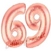 Zahl 69, Rosegold, Luftballons aus Folie zum 69. Geburtstag, 100 cm, inklusive Helium