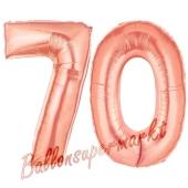 Zahl 70 Rosegold, Luftballons aus Folie zum 70. Geburtstag, 100 cm, inklusive Helium