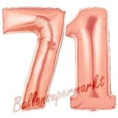 Zahl 71, Rosegold, Luftballons aus Folie zum 71. Geburtstag, 100 cm, inklusive Helium