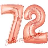 Zahl 72, Rosegold, Luftballons aus Folie zum 72. Geburtstag, 100 cm, inklusive Helium
