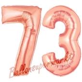 Zahl 73, Rosegold, Luftballons aus Folie zum 73. Geburtstag, 100 cm, inklusive Helium