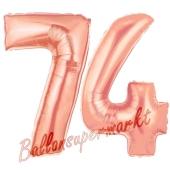 Zahl 74, Rosegold, Luftballons aus Folie zum 74. Geburtstag, 100 cm, inklusive Helium