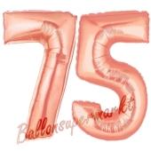 Zahl 75, Rosegold, Luftballons aus Folie zum 75. Geburtstag, 100 cm, inklusive Helium