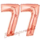 Zahl 77 Rosegold Luftballons aus Folie zum 77. Geburtstag, 100 cm, inklusive Helium