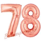 Zahl 78 Rosegold Luftballons aus Folie zum 78. Geburtstag, 100 cm, inklusive Helium
