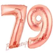 Zahl 79 Rosegold Luftballons aus Folie zum 79. Geburtstag, 100 cm, inklusive Helium